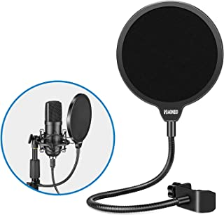 Aokeo Professional Microphone MINI Pop Filter Mask Shield For Blue Yeti and Any Other Microphone, Dual Layered Wind Pop Screen With A Flexible 360° Gooseneck Clip Stabilizing Arm …