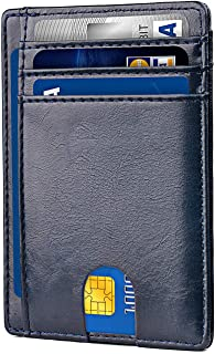 Apsung Minimalist Slim Front Pocket Wallet for Men and Wonmen,Effective RFID Blocking Leather Wallet, Mini Credit Card Holder(Blue)