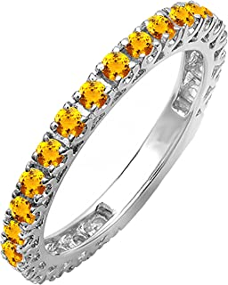 Sponsored Ad - Dazzlingrock Collection Round Diamond or Gemstone Ladies Eternity Sizeable Stackable Wedding Band | Availab...