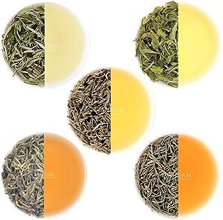 VAHDAM, White Tea Loose Leaf Sampler | 5 TEAS-Himalaya White Tea, Silver Needle White Tea, Blue Mountain White Tea, Pearl ...