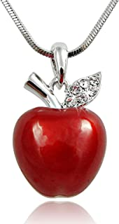 Twilight, Snow White Inspired 3D Juicy Red Apple Crystal Accented Leaf Pendant Necklace Halloween Jewelry Gifts