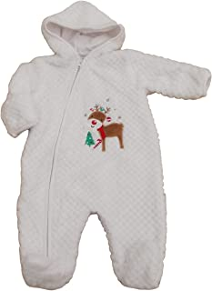Nusery Time with Tags. Baby Unisex Christmas Reindeer Soft Fleece All in one Clothes