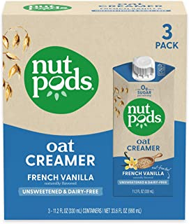 nutpods Oat French Vanilla, (3-Pack), Unsweetened Dairy-Free Creamer, Nut-Free Creamer, Made from Oats, Gluten Free, Non-G...