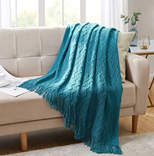 """Bourina Throw Blanket Textured Solid Soft Sofa Couch Decorative Knitted Blanket, 50"""" x 60"""",Teal"""