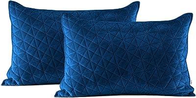 AmeliaHome Laila Velvet Taies d'oreiller, Polyester, Bleu, 2 50 x 70 cm