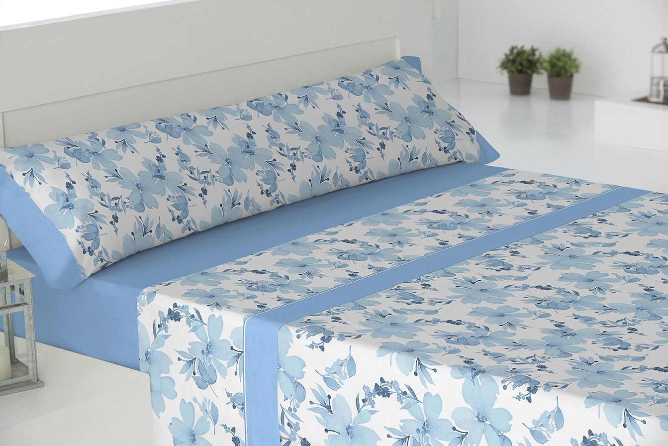 Todomueble Palma Juego de Sábanas cama de 105, 100% Algodón, Azul: Amazon.es: Hogar