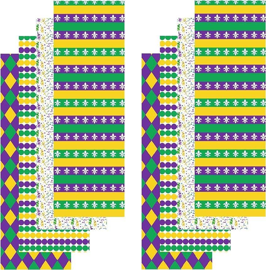 Mardi Gras Adhesive Vinyl, Purple Green and Gold Vinyl, Pattern Craft Vinyl, 8-4