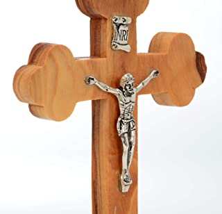 Wooden Cross of Jesus From The Places Of His Birth - Beautiful Jesus Christ Wall Mounted Crucifix - Church, Chapel Sacred Object, Craft Processing In Authentic Olive Wood -Perfect Christmas Gift
