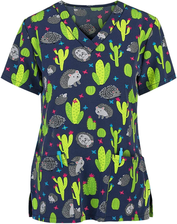 Scrub_Top for Womens Floral Print Working Uniform Short Sleeve V-Neck T-Shirts Nurses_Tunic Workwear Tops