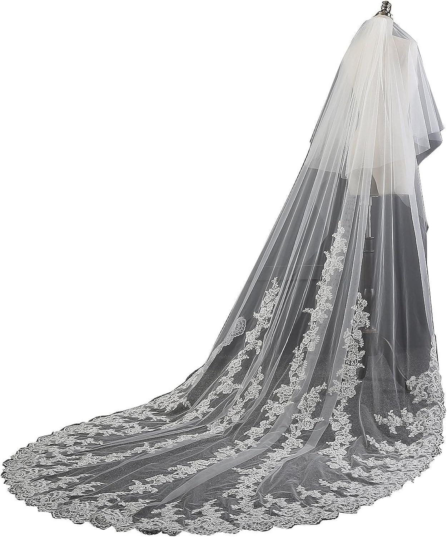 EllieHouse Women's 2 Tier Chapel Lace Wedding Bridal Veil With Metal Comb HL04