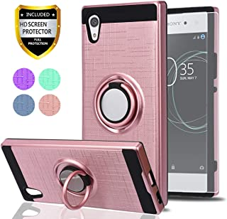 Sony Xperia XA1 Case with HD Phone Screen Protector,Ymhxcy 360 Degree Rotating Ring & Bracket Dual Layer Shock Bumper Cover for Sony Xperia XA1 5
