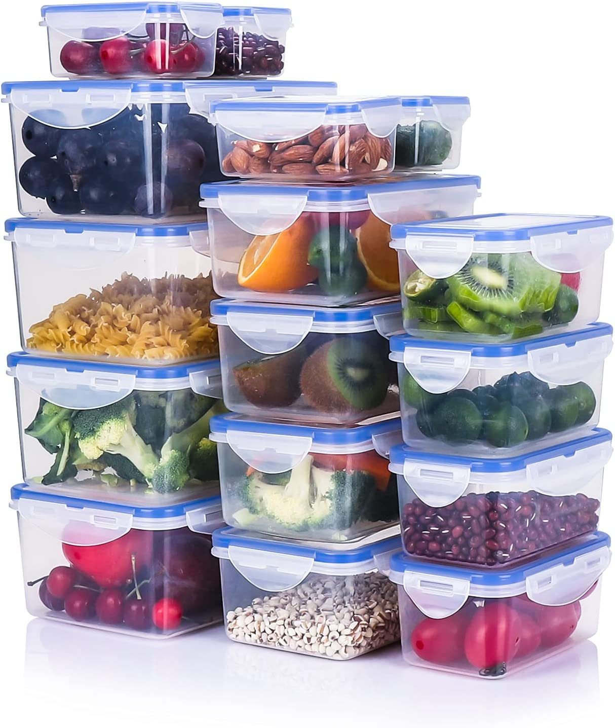 Tauno 16 Pack Food Storage Containers Set, Plastic Food Containers with Lids Airtight, Clear Meal Prep Containers Dishwasher Safe, 73 Cup / 18 Quart Total