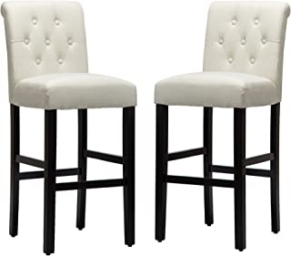 LSSBOUGHT Set of 2 Button-Tufted Fabric Barstools Dining High Counter Height Side Chairs (Seat Height: 30 inches, Beige)