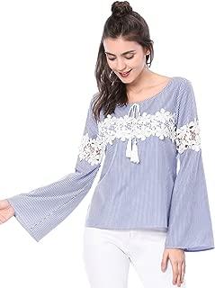 Women's Long Bell Sleeve Shirt Striped Casual Crochet Lace Blouse Top