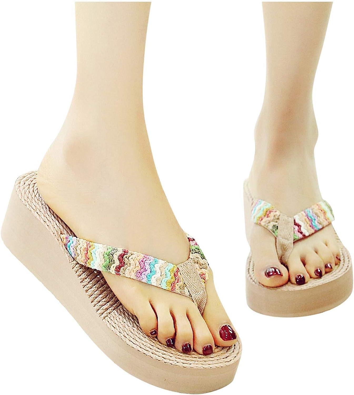 HIRIRI Women's Rainbow Wedges Sandals Open Comfy Toe Flip-Flops Oakland Mall Year-end gift
