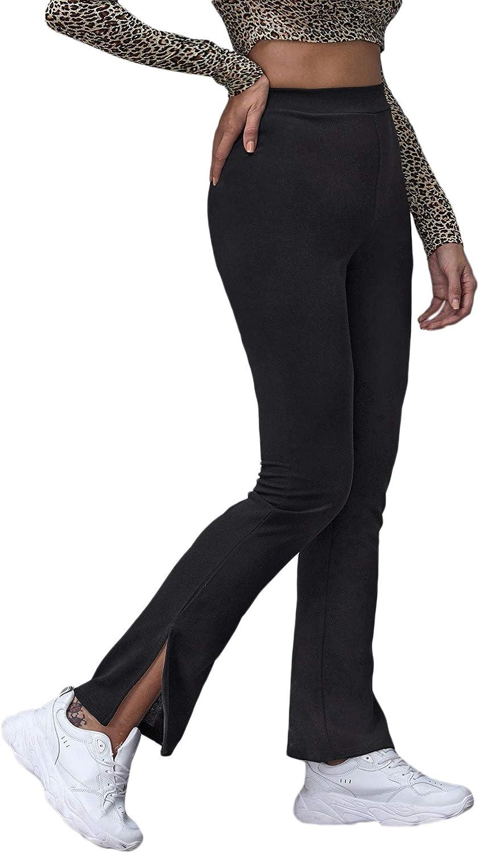 SheIn Women's Split Wide Leg High Elastic Waist Flare Pants Solid Knit Trousers