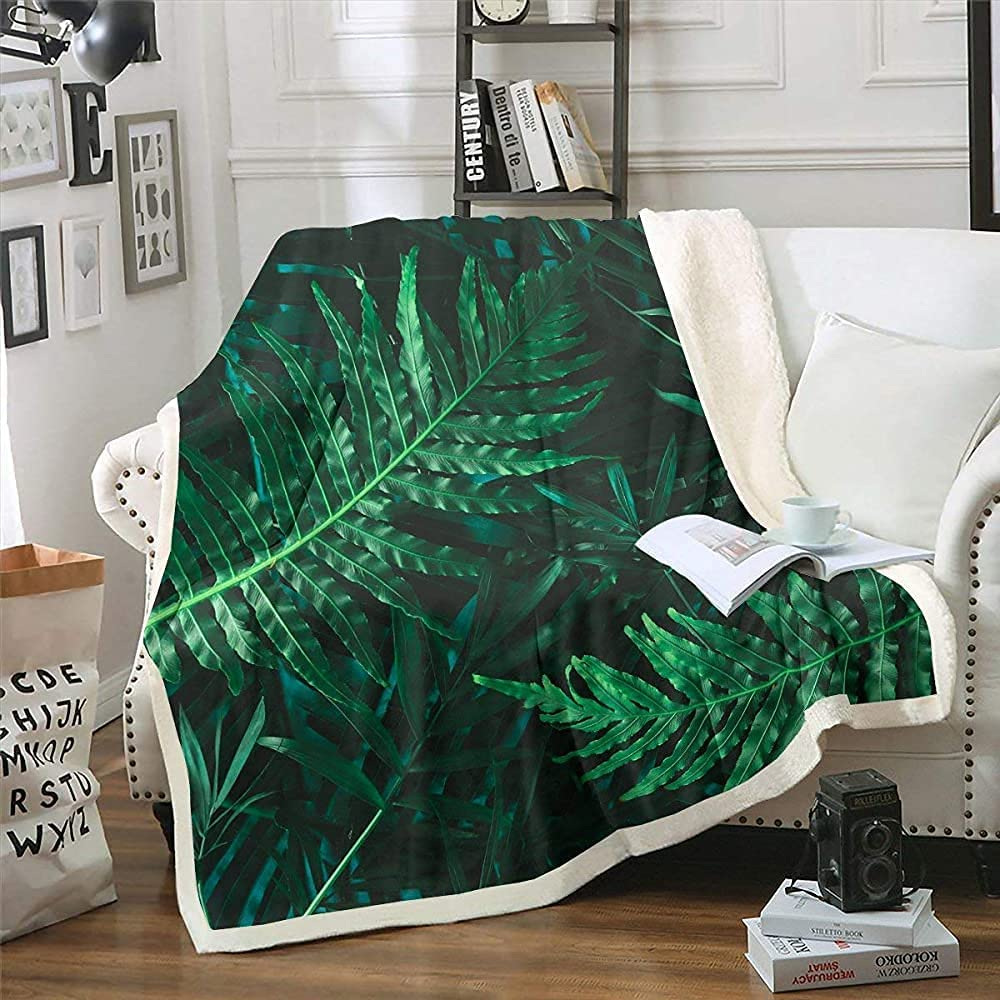 Max 69% Dealing full price reduction OFF LAYENJOY Tropical Leaves Sherpa Blanket Fleece Branches