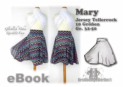 Mary Nähanleitung mit Schnittmuster für Tellerrock in 3 Längen von Gr. 32-50 [Download]