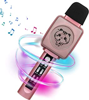 HOKLAN Karaoke Microphone for Kids,Voice Changer, Best Birthday Gifts for 3 4 5 6 7 8 9 Years Old Girls, Birthday Presents Toys for Toddlers, Portable Bluetooth Karaoke Singing Machine with Speaker