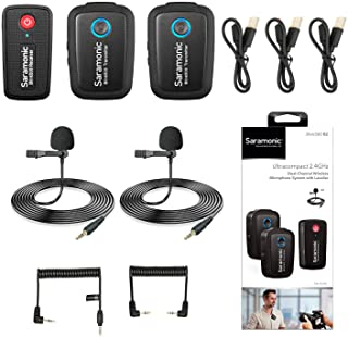 2.4GHz Wireless Lavalier Microphone System for Video,Saramonic Blink500 B2 Dual-Channel Mic Two Transmitters for DSLR Came...