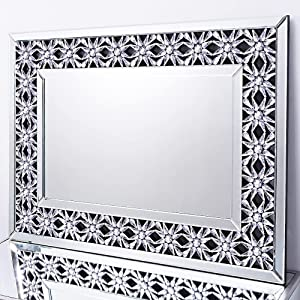 Autdot Large Mirror for Wall Decor with Crystal and Beveled Edge, Modern Wall Mirror for Dining Room, 38