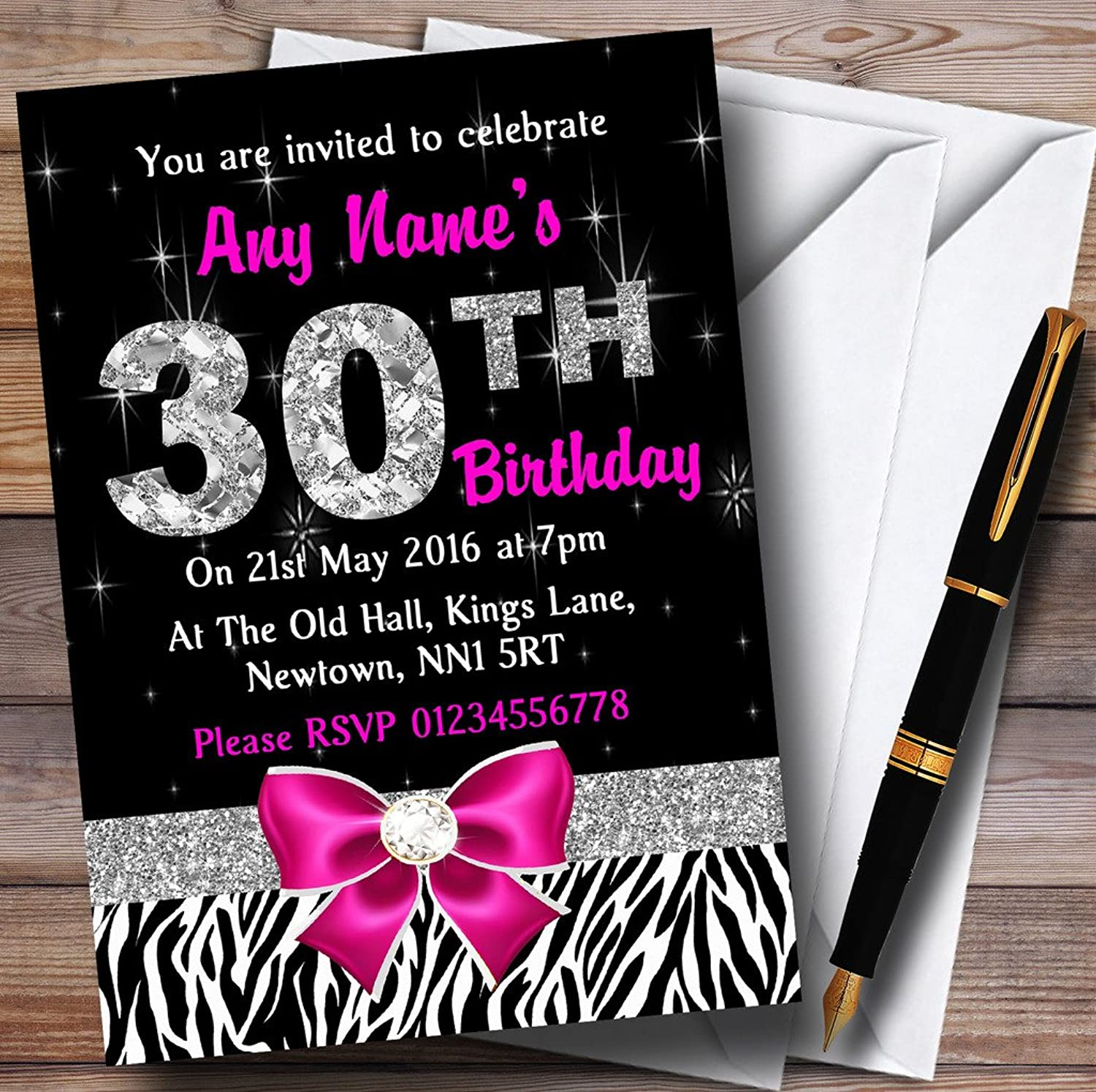 Pink Diamond And Zebra Print 30Th Birthday Party Personalised Invitations   Invites & Envelopes