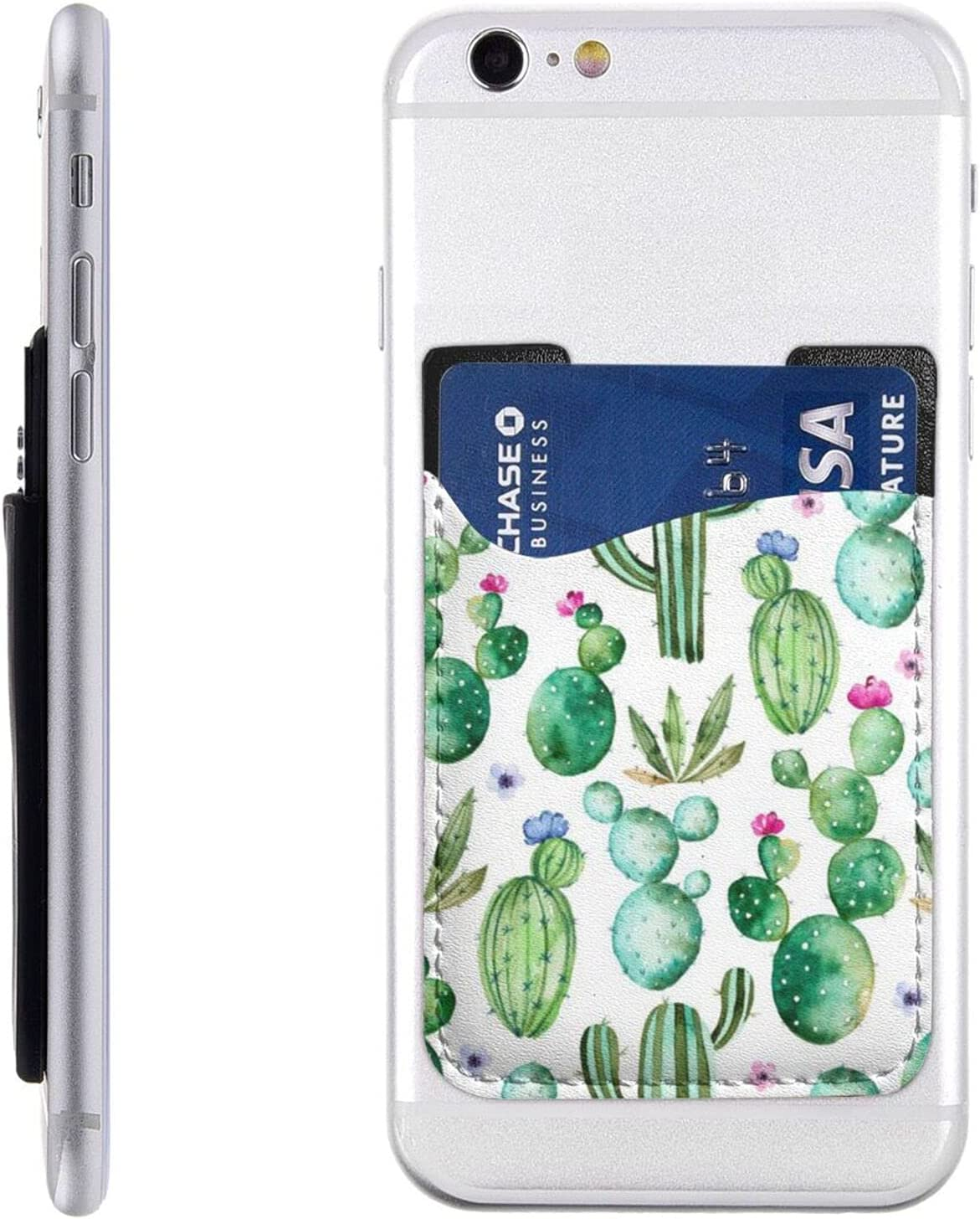 Cactus Phone Card Holder Credit Wallet Stick On Cell Back Case 3M Adhesive Smartphones ID Pocket Pouch Sleeve PU Leather Women Men Gifts (1PCS)