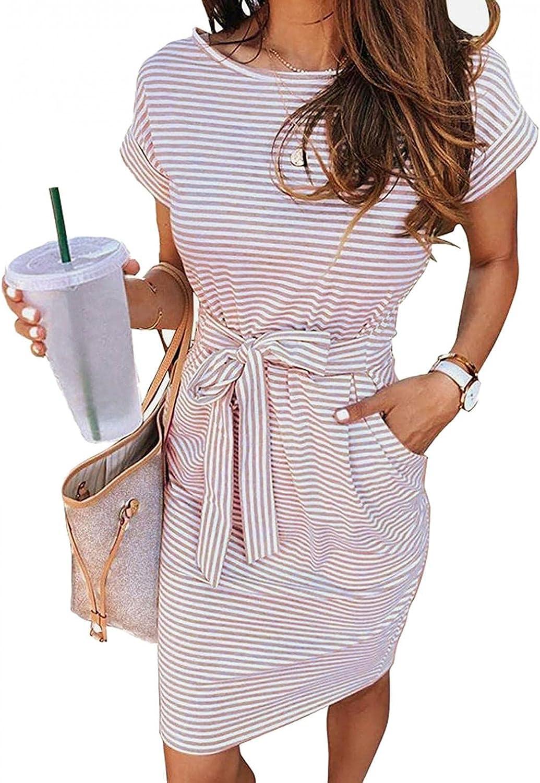 TAYBAGH Casual Dresses for Women Summer V Neck Sleeveless Stripe Wave Pattern Dresses Swing Sling Strap Dress with Belt