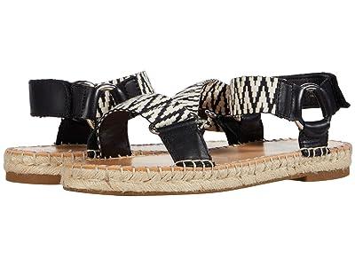 FRYE AND CO. Kole Asymmetrical Sandal (Black/White Waxed Leather/Multi Zig Webbing) Women