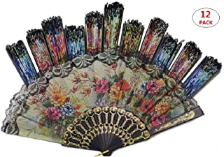 "Tomixxx (1 Dozen 12 Pieces Spanish Floral Folding Hand Fans Gift Size 9"" Wholesale"