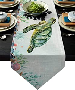 Meet 1998 Cotton Linen Table Runners Turtle Animal Ocean Decor Tablecovers for Kitchen Garden Starfish Coral Wedding Parties Dinner Indoor Outdoors Home Decorations 13x90 inches