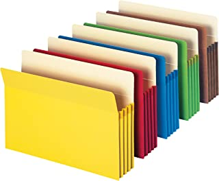"""Smead File Pocket, Straight-Cut Tab, 3-1/2"""" Expansion, Letter Size, Assorted Colors, 5 per Pack (73892)"""