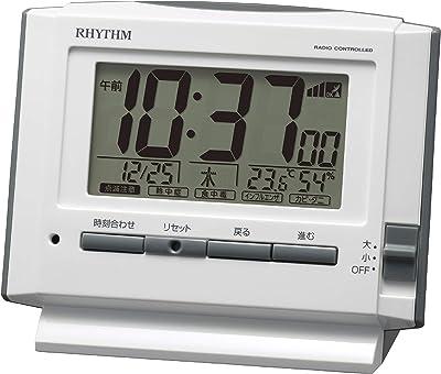 リズム(RHYTHM) 電波時計 目覚まし時計 電子音アラーム 温度 湿度 カレンダー ライト付き 8RZ222SR03