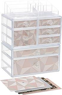 Sorbus Cosmetics Makeup and Jewelry Countertop Organizer Storage Case Display Set – 3-Piece Stackable Interlocking Drawers...