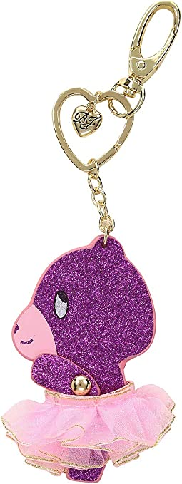 Pink Glitter Moveable Bear Key Fob in a Betsey Johnson Pouch