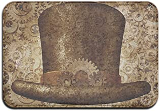 Steampunk Top Hat As A Science Fiction Concept Made Of Metal Copper Gears And Cogs Decorative Door Mat IndoorOutdoor Doorm...