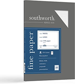"Southworth 25% Cotton Business Paper, 8.5"" x 11"", 24 lb/90 gsm, Linen Finish, White, 100 Sheets - Packaging May Vary (P554CK)"