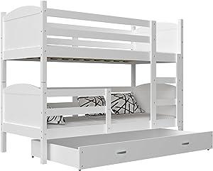 KIDS LITERIE Lit superposé Mateo 90x190 Blanc + Blanc livré avec sommiers, tiroir et Matelas en Mousse de 7cm OFFERTS
