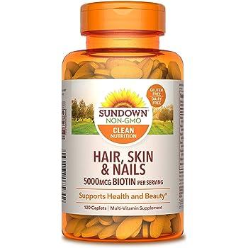 Hair, Skin & Nails Vitamins by Sundown, with Collagen, Non-GMOˆ, Free of Gluten, Dairy, Artificial Flavors, 5000 mcg of Biotin, 120 Caplets