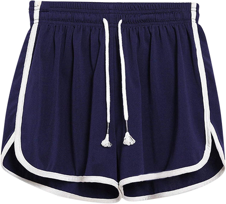 Womens Shorts for Summer,Womens Summer Beach Casual Loose Lace Comfy Drawstring Elastic Waist Shorts