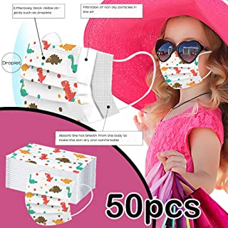 50PCS Disposable Face Cover Children, Cartoon Anti-Particle Anti-droplet Anti-pollen Breathable 3-Ply Anti-Dust Face Cover With Elastic Earloop Non-woven,For Kids Kiddie Boys Girls (C)