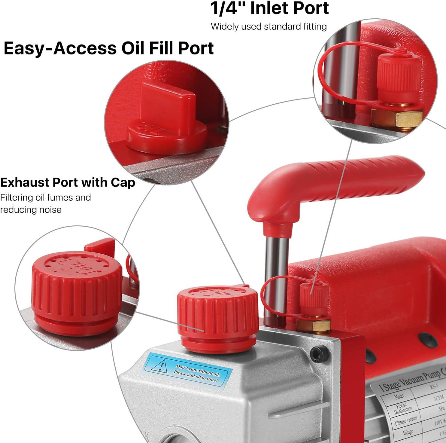Oil Hose Storage Case HVAC Manifold Gauge Set Flexzion Car Automotive AC Refrigerant Air Conditioning Repair Recharge 1//4 SAE Tool Kit with Electric Vacuum Pump Coupler R134a Can Tap