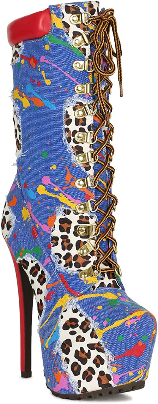 Women Printed D-Ring Lace Up Lug Stiletto Pointy Mid-Calf Platform Boot RJ13 - Blue Multi Mix Media (Size: 6.5)