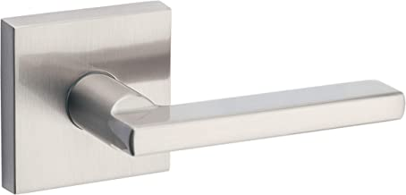 Kwikset Satin Nickel 91540-001 Halifax Door Handle Lever with Modern Contemporary Slim Square Design for Home Hallway or Closet Passage