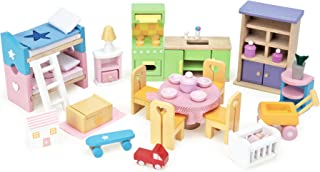 Le Toy Van Dollhouse Furniture Starter Set - 37Pc Premium Wooden Toys for Kids Ages 3 Years & Up