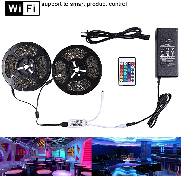 Miheal LED Light Strip WiFi Wireless Smart Phone Controlled Strip Light Kit 65 6ft 5050 RGB 600LEDs Lights With DC12V UL Rope Light Working With Android And IOS System IFTTT Google Assistant