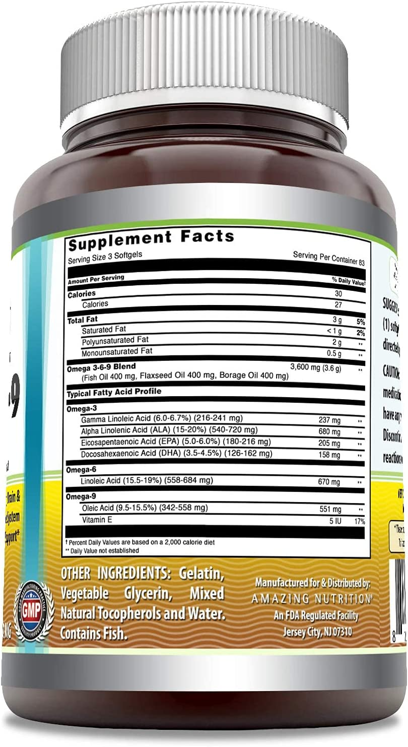 Amazing Omega 3.6.9 1200 mg, Softgels * Unique Formula Combining Flaxseed Oil 400 mg, Fish Oil 400 mg and Borage Oil 400 mg * Rich in Omega-3, Omega-6 and Omega-9 Fatty Acids * (250 Count)