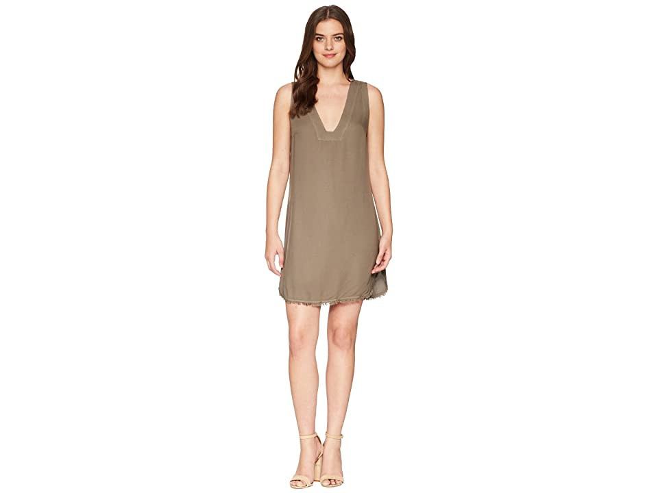 Splendid Crosshatch V-Neck Tunic Dress (Military Olive) Women