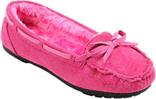AMY Girls Moccasins Slip On Indoor Outdoor Fur Loafer Shoes Slippers