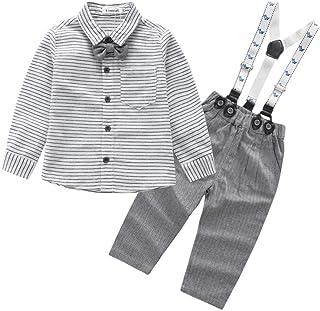 88bff11ab8e70 Wongfon Bébé Garçon Boy Ensemble de Costume en 2 PCS Luxueux Chemise +Pantalon  pour Soirée